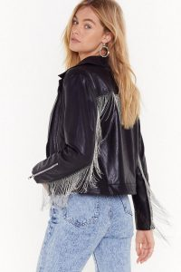 NASTY GAL Save Rock and Roll Faux Leather Fringe Jacket in Black