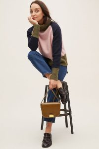 Selected Femme Colourblocked Turtleneck Jumper Pink | multicoloured roll neck sweater