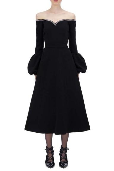 Self Portrait Black Crepe Puff Sleeve Dress