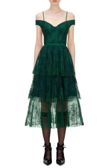 Self Portrait Green Off Shoulder Fine Lace Dress - flipped