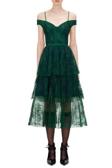 Self Portrait Green Off Shoulder Fine Lace Dress