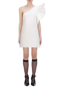 Self Portrait Ivory One Shoulder Ruffle Dress