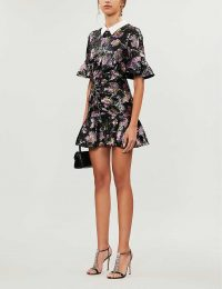 SELF-PORTRAIT Contrast-collar floral-pattern sequin mini dress ~ ruffle trim dresses