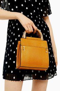 TOPSHOP SELMA Mustard Grab Bag. SMALL YELLOW TOP HANDLE BAGS
