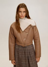 MANGO Sheepskin leather jacket in medium brown REF. 53055731-CISNE-LM | luxe winter jackets