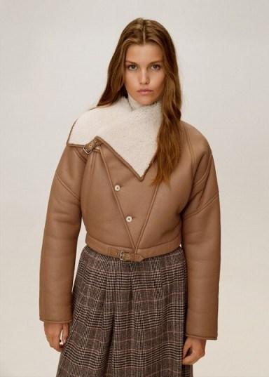 MANGO Sheepskin leather jacket in medium brown REF. 53055731-CISNE-LM | luxe winter jackets - flipped
