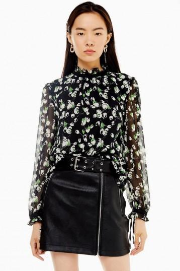 TOPSHOP Sheer Tulip Print Pie Crust Blouse / sheer sleeved high neck blouses
