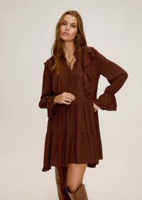 Mango Short ruffled dress in russet REF. 57005654-NICOLE-LM