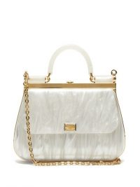 DOLCE & GABBANA Sicily white pearlescent-acrylic bag | luxe handbag