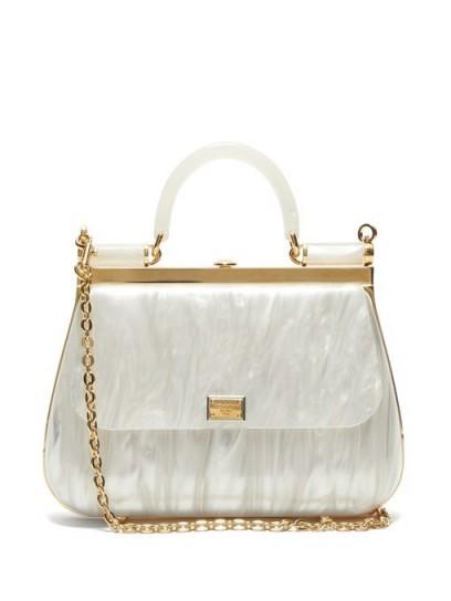 DOLCE & GABBANA Sicily white pearlescent-acrylic bag   luxe handbag