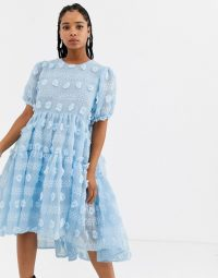 Sister Jane midi smock dress with full tiered skirt in texture in light-blue / floral applique dresses / 3 D effect fashion