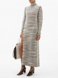 JIL SANDER Slit-skirt woven-wool dress | thigh high split knitted maxi