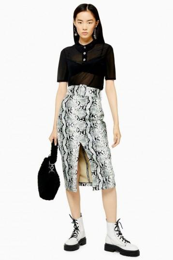 Topshop Snake Effect PU Pencil Skirt in Sage | front slit skirts