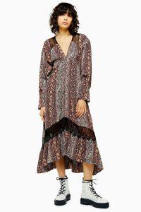 TOPSHOP Snake Print Lace Trim Smock Dress / loose fit midi dresses