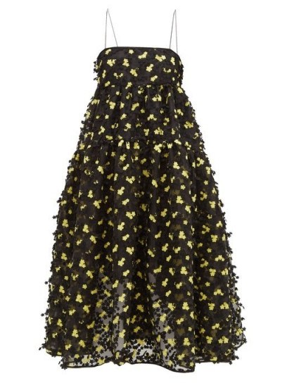CECILIE BAHNSEN Sofie floral-appliqué organza midi dress in black ~ strappy dresses with full skirts - flipped