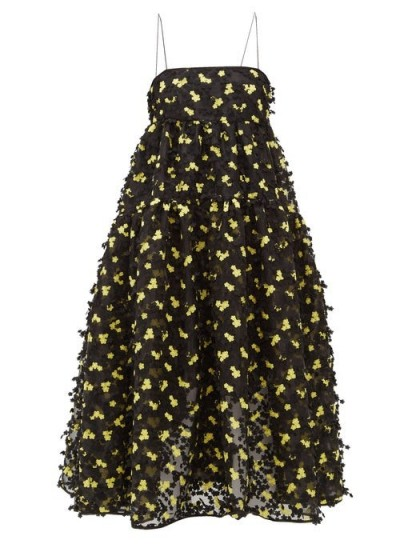 CECILIE BAHNSEN Sofie floral-appliqué organza midi dress in black ~ strappy dresses with full skirts