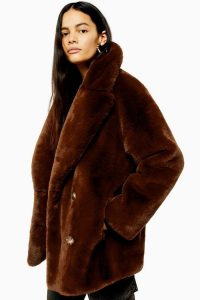 TOPSHOP Soft Faux Fur Double Breasted Coat in Tobacco / brown winter coats