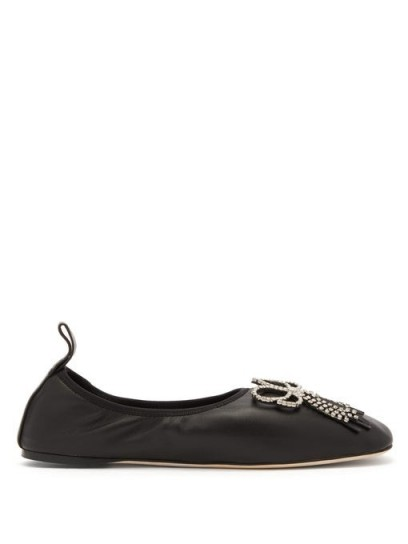 LOEWE Square-toe crystal-bow leather flats | black embellished ballerina pumps