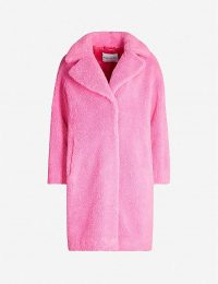 STAND Camille teddy coat in bubble gum – bright-pink winter coats