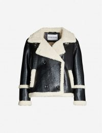 STAND Lilli double-breasted patent faux-shearling jacket in black / off-white / monochrome jackets