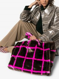 STAND Lola check faux-fur tote – brown and pink fluffy bags