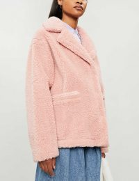 STAND Marina faux-fur teddy jacket in light-pink / textured luxe style jackets