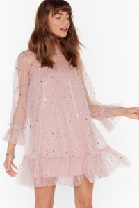 NASTY GAL Star and Wide Mesh Mini Dress in Pink / sparkling party dresses
