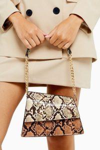 TOPSHOP STAR Mixed Snake Mini Shoulder Bag