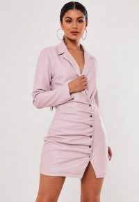 stassie x missguided lilac faux leather blazer dress ~ ruched dresses