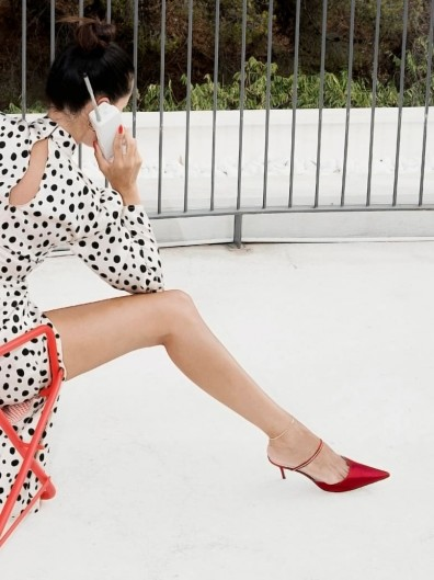 REFORMATION Stella Embellished Mule in Sangre | hot party heels | rhinestone pointed mules