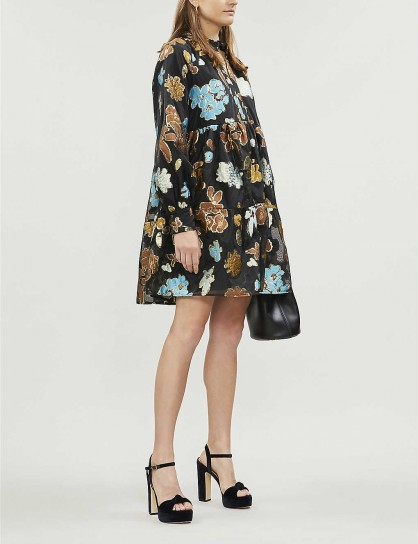 STINE GOYA Jasmine metallic floral-jacquard organza mini dress   full vintage style dresses