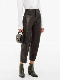 CHLOÉ Studded cropped black leather trousers