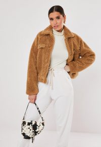 MISSGUIDED tan cropped borg teddy trucker jacket