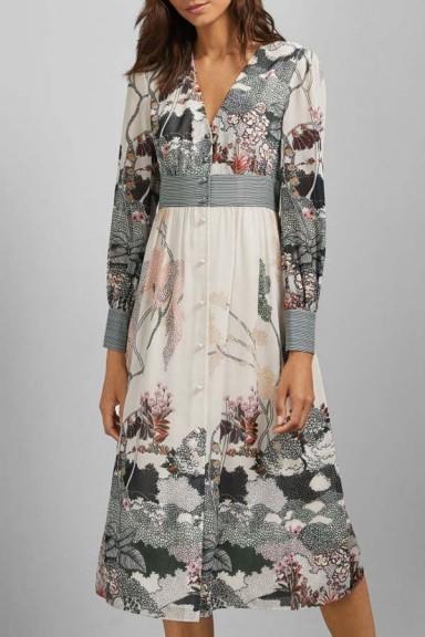 Ted Baker Nynina Long Sleeved Deep V Neck Dress