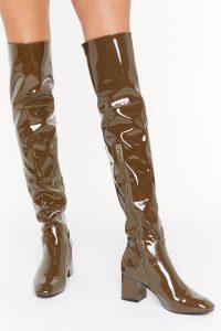 NASTY GAL Think Things Over Patent Faux Leather Thigh High Boots in Olive / shiny winter footwear