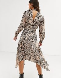 Topshop petite paisley print midi dress in multi / open-back tie-neck dresses