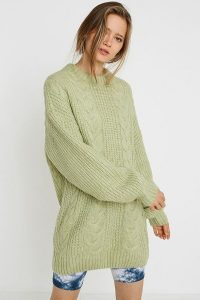 UO Green Cable Knit Mini Dress | crew neck sweater dresses