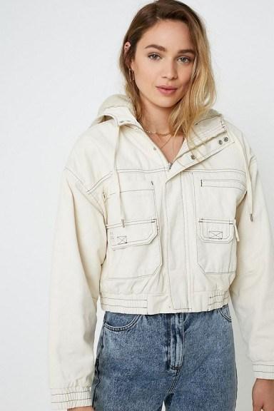 UO Jared Borg Lined Cropped Ivory Utility Jacket ~ hooded jackets - flipped