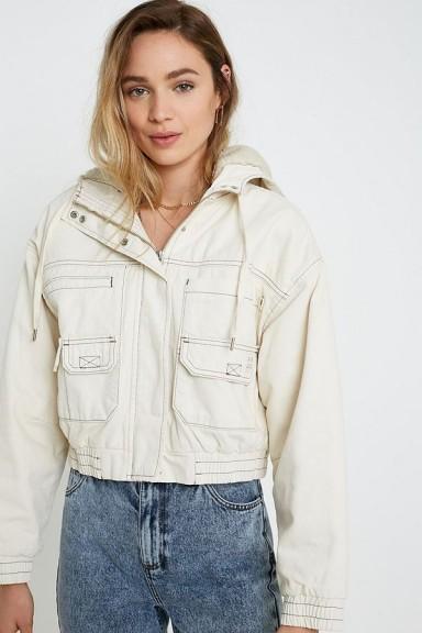 UO Jared Borg Lined Cropped Ivory Utility Jacket ~ hooded jackets
