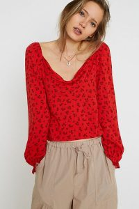 UO Leah Cowl Neck Blouse in Red Multi / draped neckline top