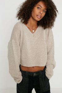 UO Smooch V-Neck Jumper in beige ~ neutral jumpers