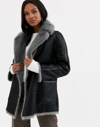 Urbancode reversible faux fur coat in black / grey | luxe winter coats