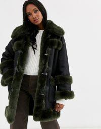 Urbancode reversible faux fur duffle coat in black – green / luxe winter coats