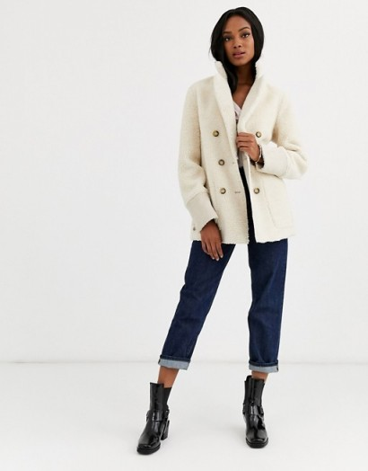 Urbancode reversible shearling coat in stone | neutral winter jackets