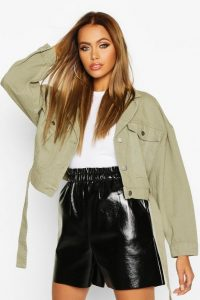 boohoo Utility Tie Crop Denim Jacket in Khaki – utilitarian outerwear