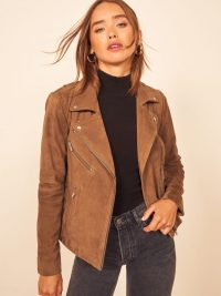 REFORMATION Veda Bad Suede Jacket in Camel