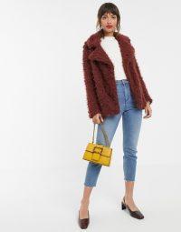 Vero Moda faux shaggy fur jacket in brown / autumn jackets