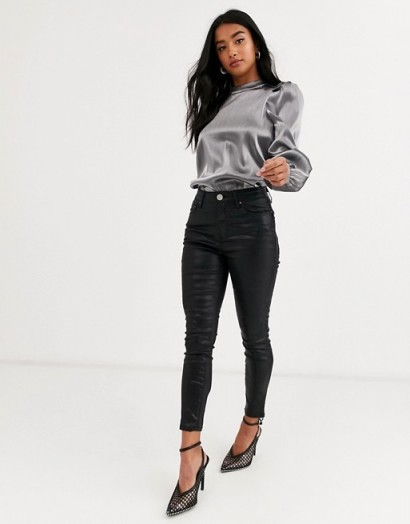 Vero Moda Petite volume sleeve blouse in silver / puffed sleeved blouses