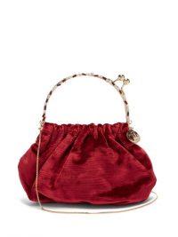ROSANTICA BY MICHELA PANERO Versailles crystal and burgundy velvet clutch