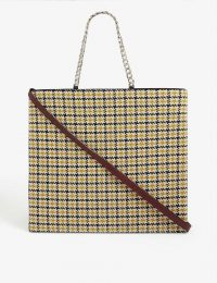 VICTORIA BECKHAM Tweed and leather tote in mustard-black/bordeaux